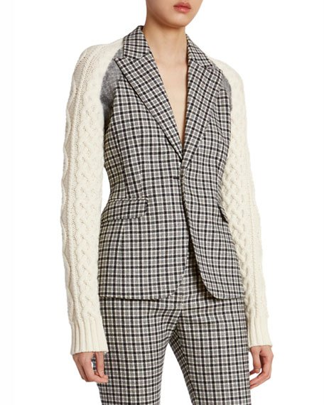 Plaid Wool Sweater-Sleeve Blazer