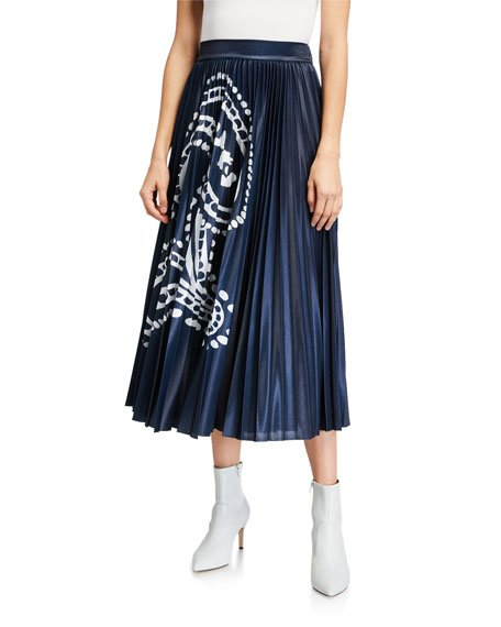 Paisley Print Metallic Midi Skirt