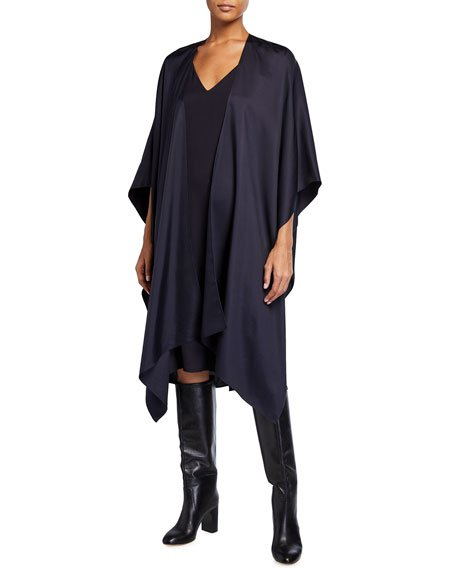 Silky Twill Wrapped Cape