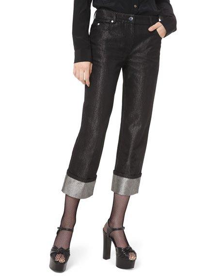 Shimmer-Cuff Straight-Leg Jeans