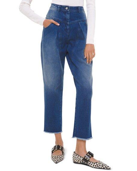 Pleated Straight-Leg Jeans