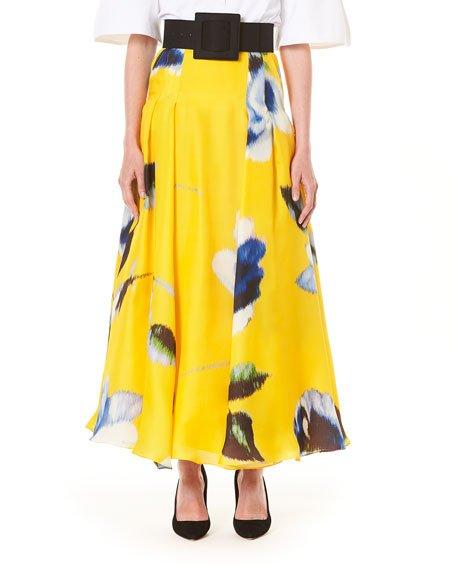 Floral Print Silk A-Line Skirt