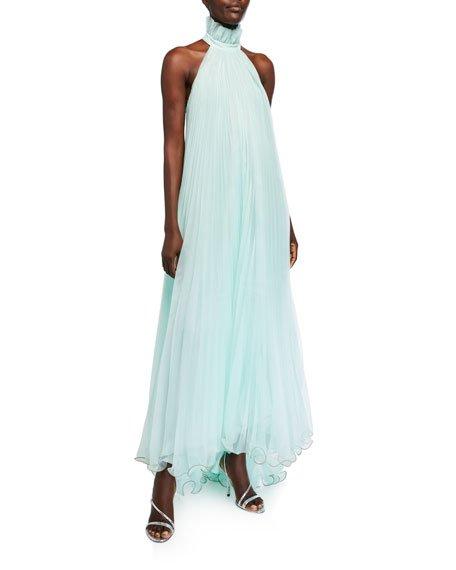 Plisse Ruffled-Halter Gown