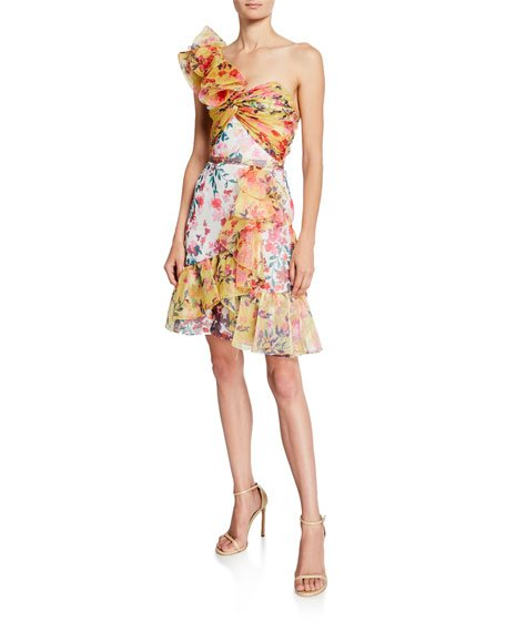 Colorblock Floral-Print One-Shoulder Twisted Ruffle Dress