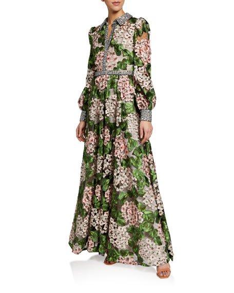 Floral Print Shirtwaist Gown