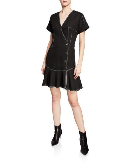 Surplice-Neck Short-Sleeve Faux-Wrap Dress w/ Topstitch Details