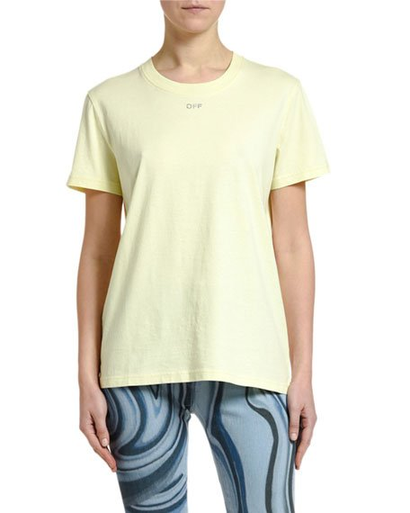 Short-Sleeve Shifted  Casual Tee, Yellow