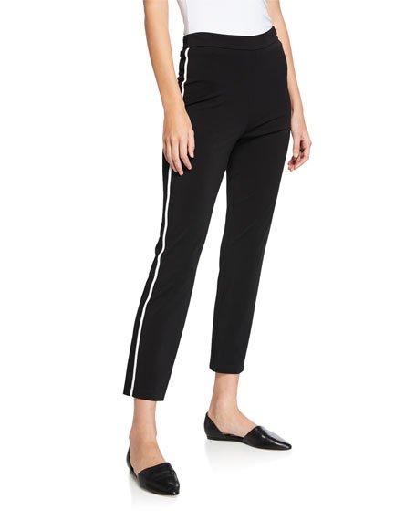 Matte Jersey Capri Pants w/ Contrast Knit Side