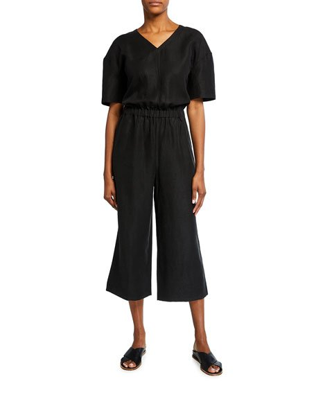 Petite Slub V-Neck Short-Sleeve Jumpsuit