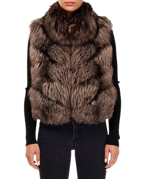 Nylon & Fox Fur Reversible Chevron Vest