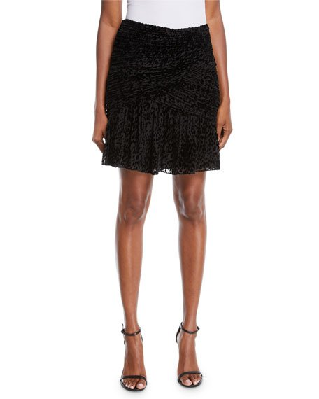 Corey Animal-Print Velvet Burnout Skirt