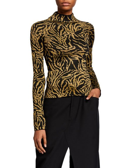 Fluid Jacquard Turtleneck Top, Black/Green