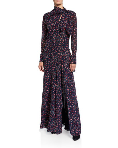 Aquatic Flower-Embroidered Silk Tie-Neck Gown