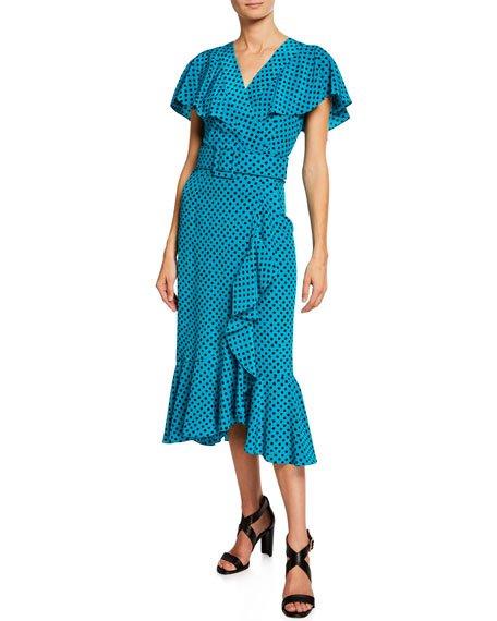 Belted Polka-Dot Ruffled Midi Dress