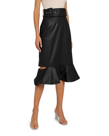 Leather Frill Drop Skirt