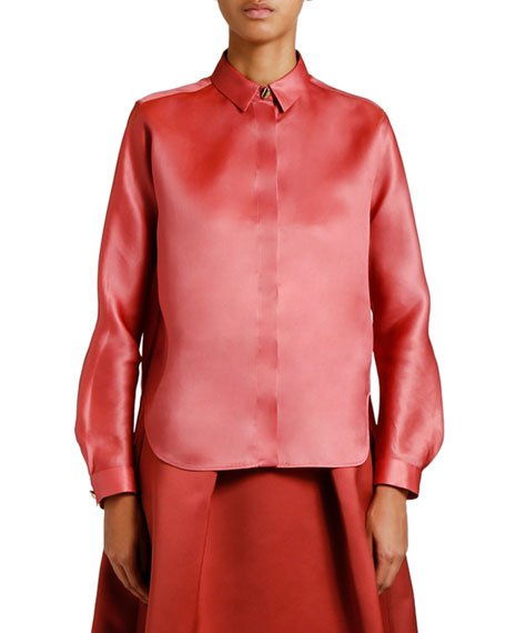 Silk Organza Button-Front Blouse