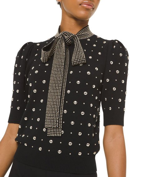 Studded Cashmere Tie-Neck Sweater