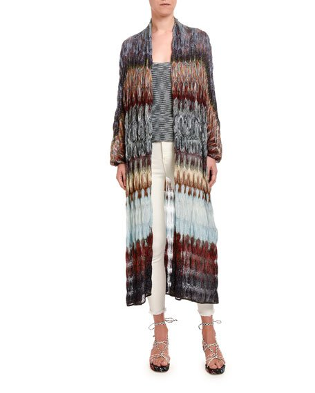 Optical Zigzag Blocked Duster Cardigan