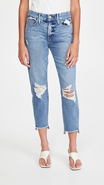 Good Girlfriend Jeans with Side Step Hem