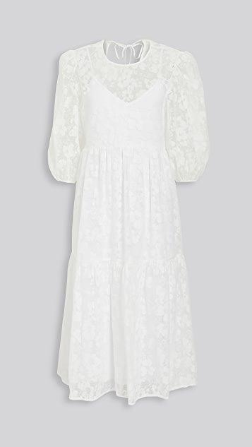 Channing Tie Back Tiered Midi Dress