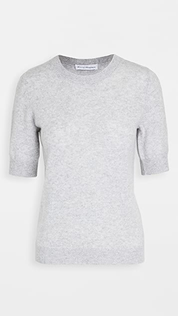 Cashmere Elbow Sleeve Crew Neck Tee