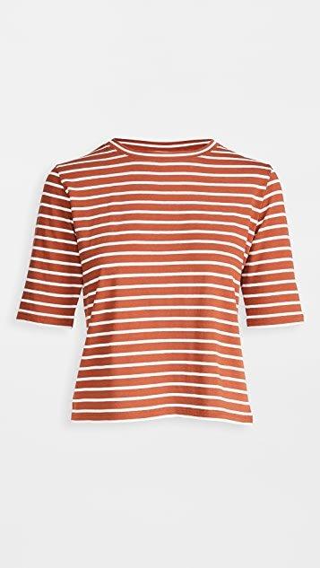 Vintage Stripe Elbow Sleeve Crew Tee