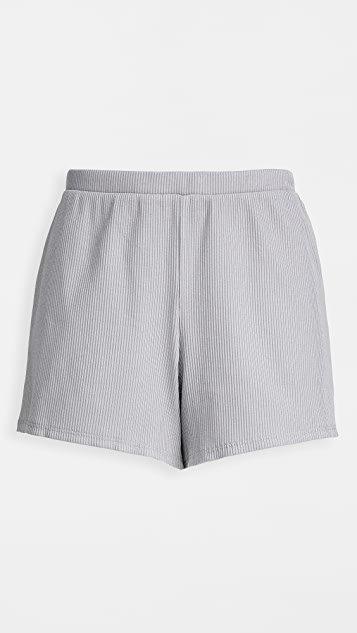 Indigo Pima Rib Shortie Sleep Shorts