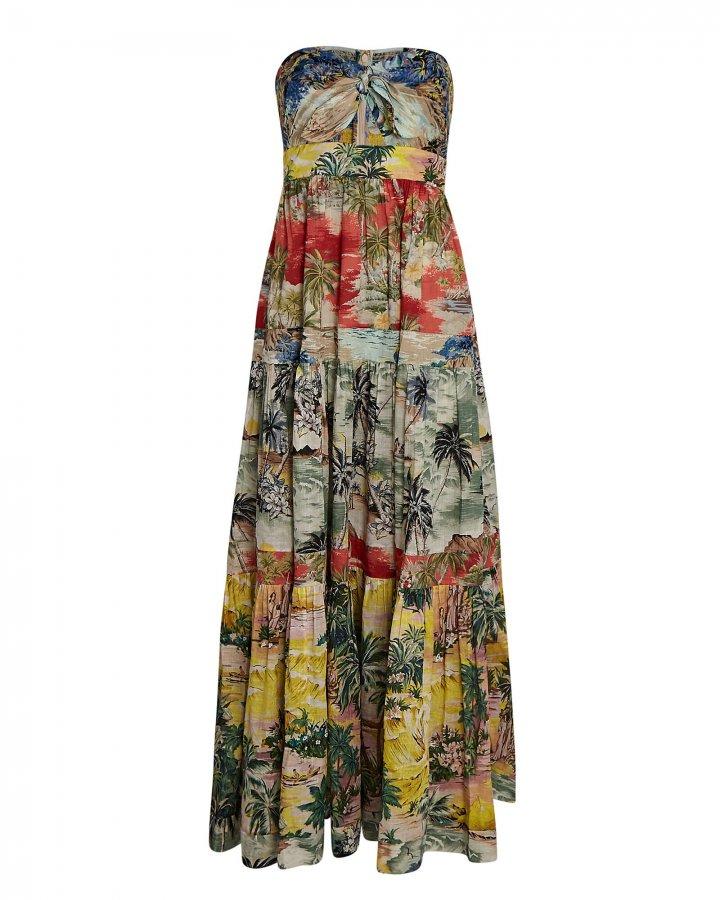 Juliette Strapless Printed Midi Dress
