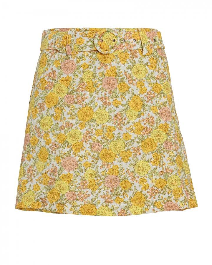 Celia Belted Floral Linen Skort
