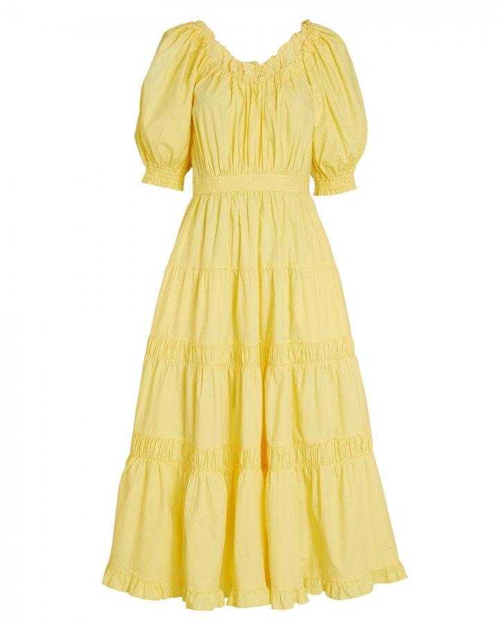 Colette Tiered Cotton Midi Dress