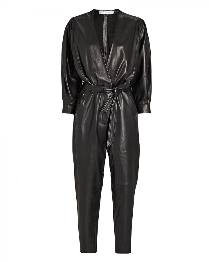 Healy Tie-Waist Leather Jumpsuit