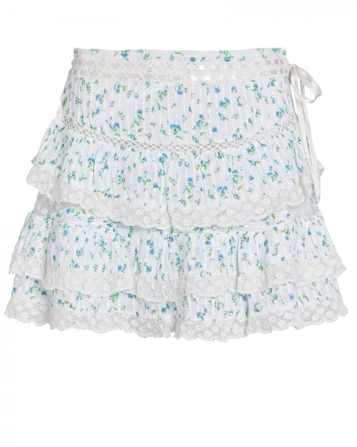 Bara Lace-Trimmed Floral Mini Skirt