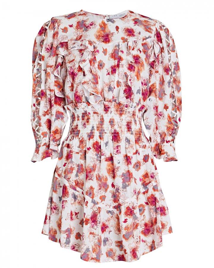 Showoff Smocked Floral Mini Dress