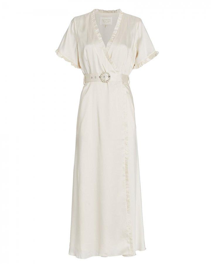 Paris Belted Satin Wrap Dress