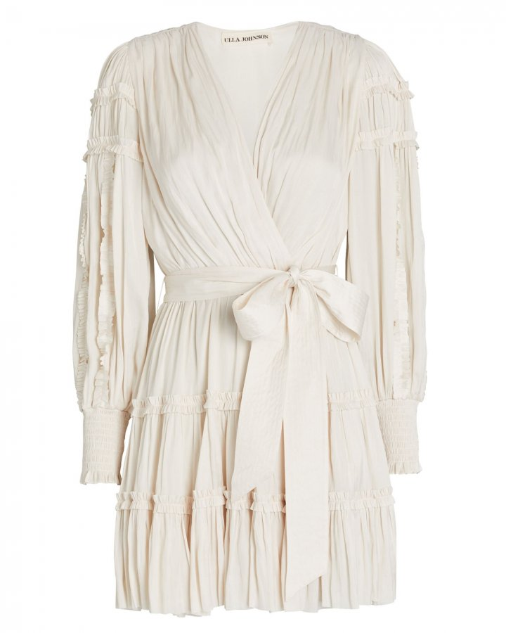 Amal Ruffled Mini Wrap Dress