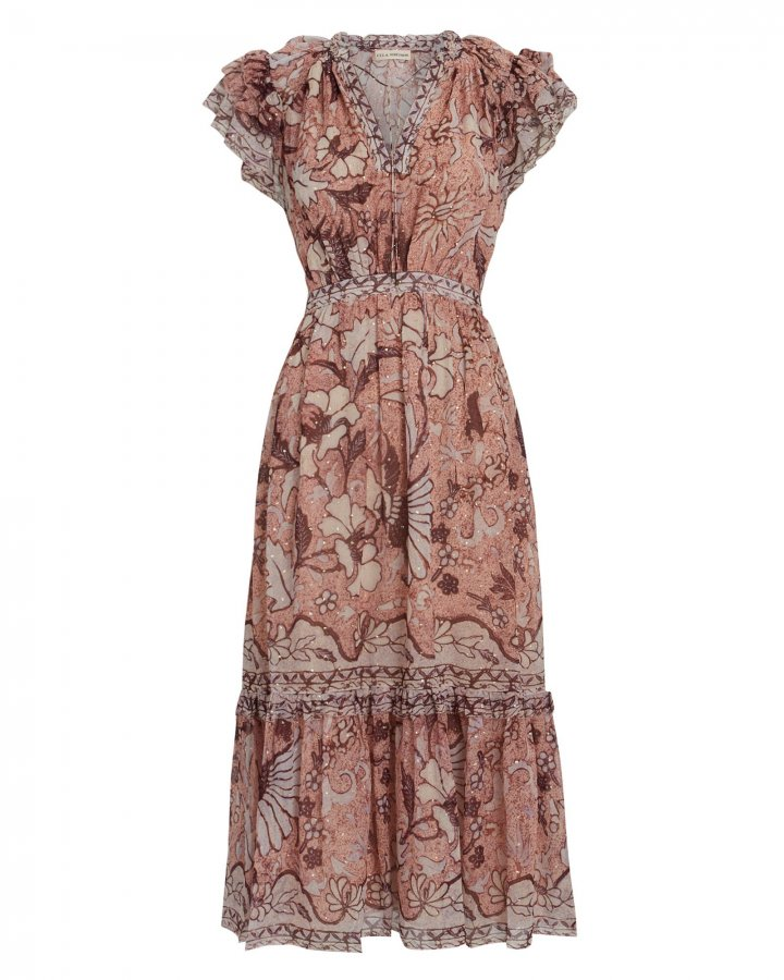 Celestia Silk Floral Midi Dress