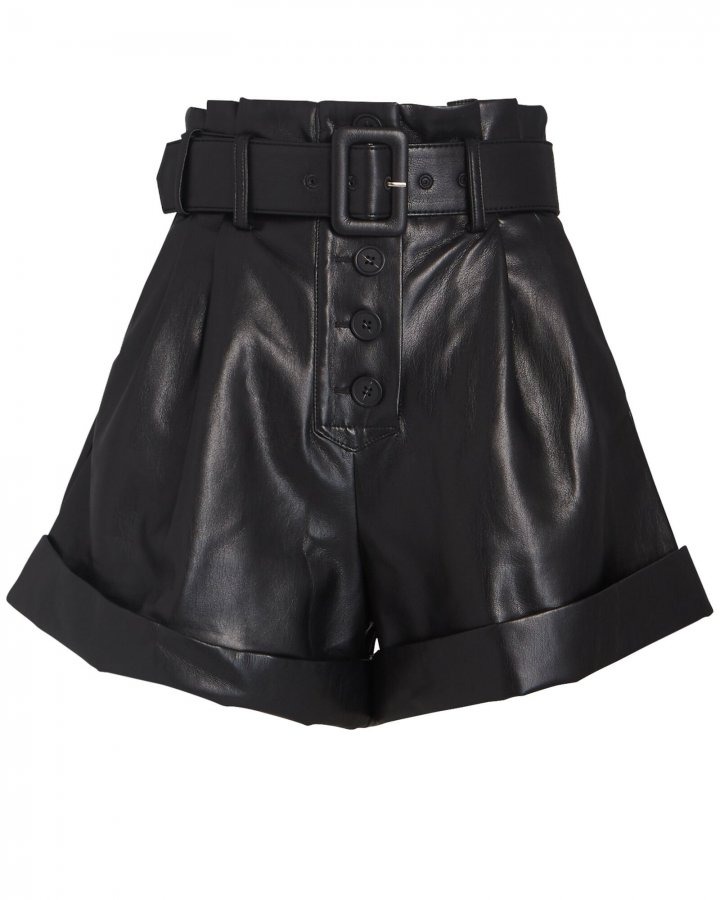 Belted Faux Leather Shorts