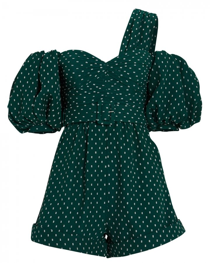 Plumetis Swiss Dot Asymmetrical Playsuit