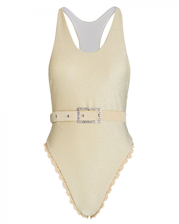 Gia Belted Lurex One-Piece Swimsuit