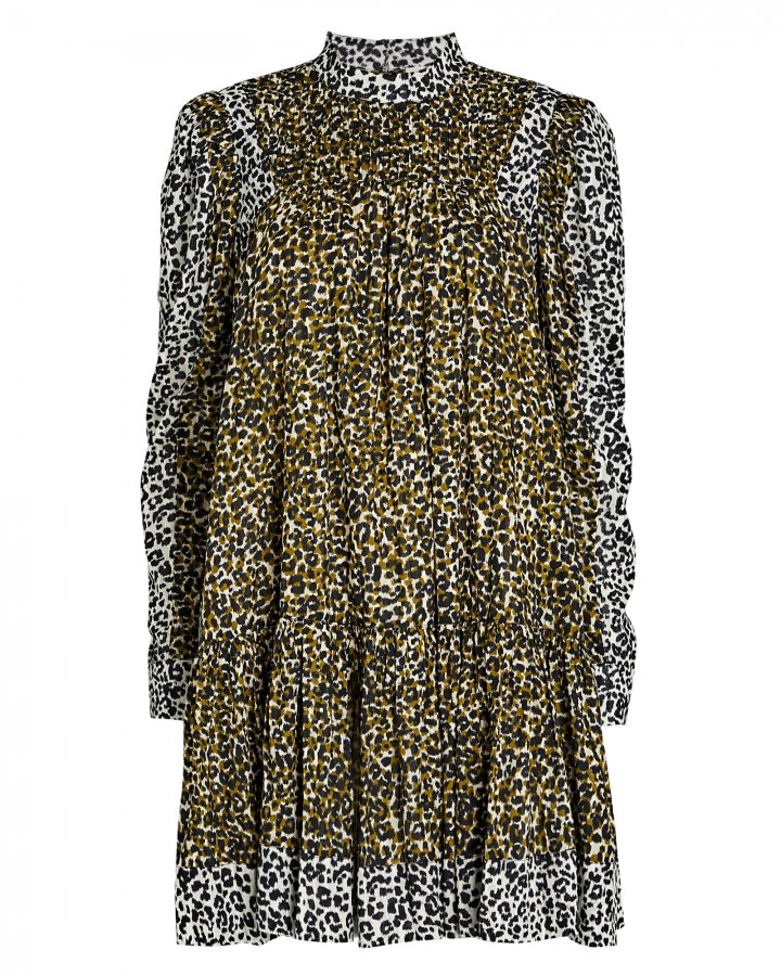 Amira Leopard Puff Sleeve Dress