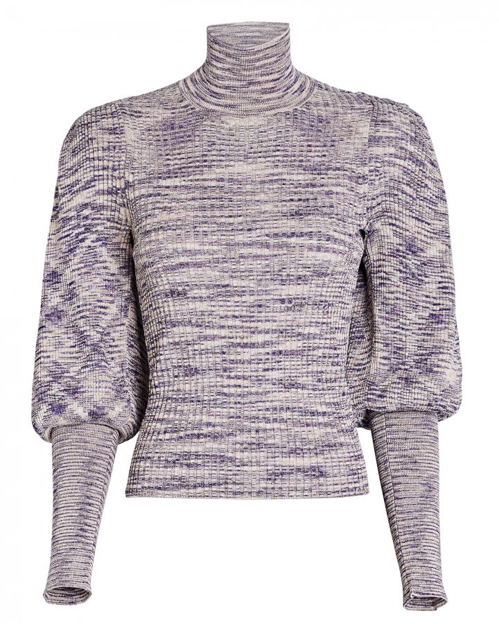 Josie Puff Sleeve Rib Knit Turtleneck