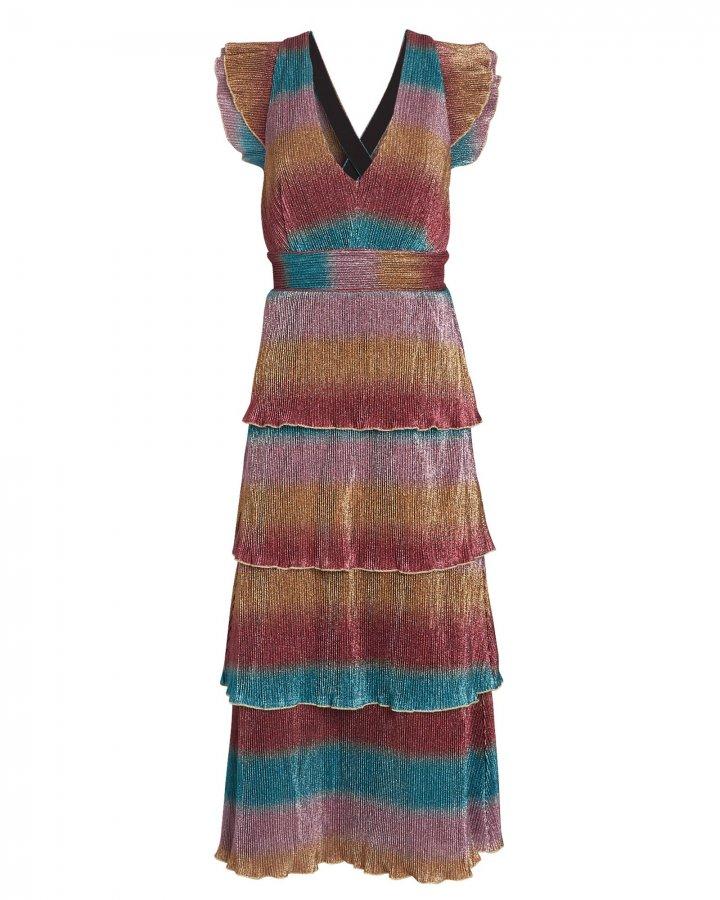 Marika Striped Plissé Midi Dress