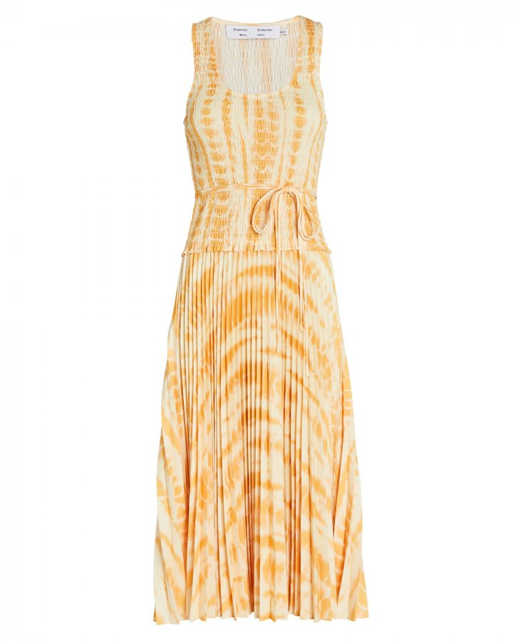 Tie-Dye Pleated Midi Dress