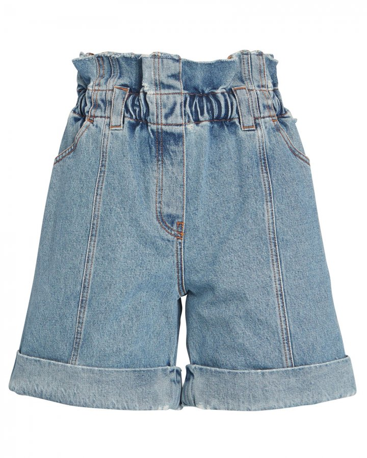 High-Rise Denim Paperbag Shorts