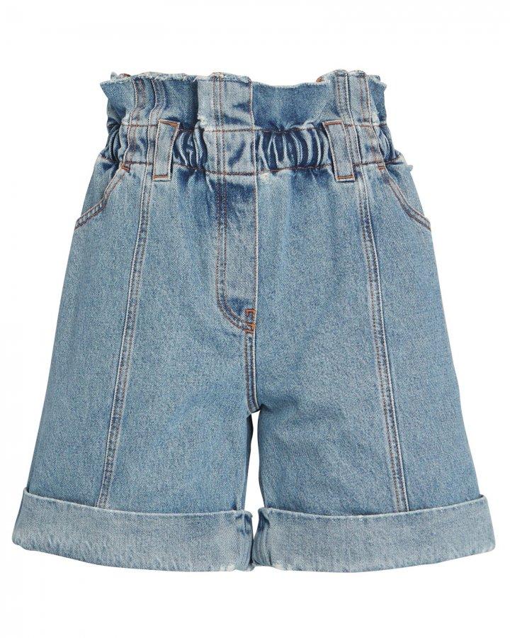High-Rise Denim Paperbag Shorts