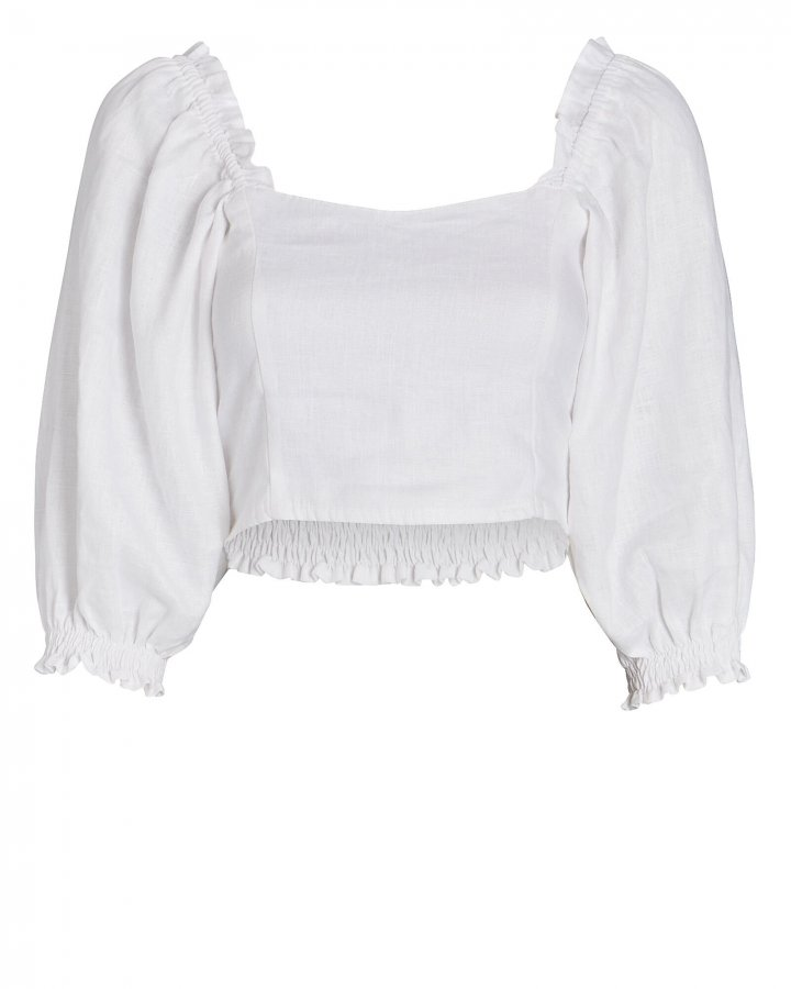 Pietra Smocked Linen Crop Top