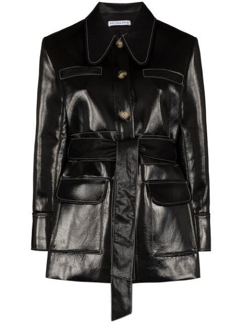 Rejina Pyo Felix Belted Faux Leather Coat