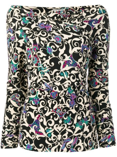 Versace Pre-Owned 1990\'s Arabesque Print Blouse Vintage | Farfetch.com