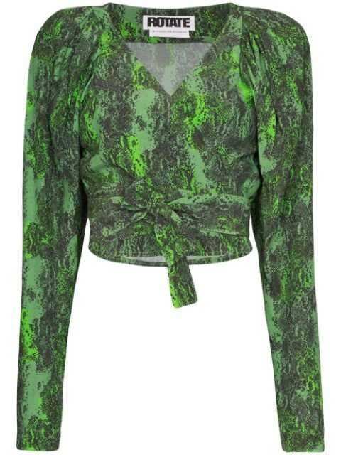 Rotate Nancy Snake Print Wrap Top Ss20 | Farfetch.com