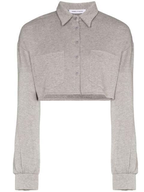 Danielle Guizio Oversized Cropped Buttoned Sweatshirt